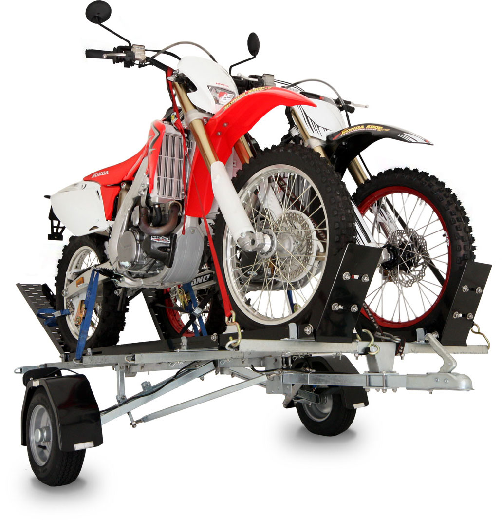 trailer motorcycle double folding track trailers bulldog dirt bikes cart moto return fmt