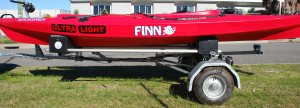 3.7m Beachcomber kayak on Bulldog Folding Trailer