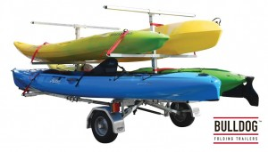 The Bulldog Kayak Carry Tree is available now. It can carry up to 6 kayak's at one time.